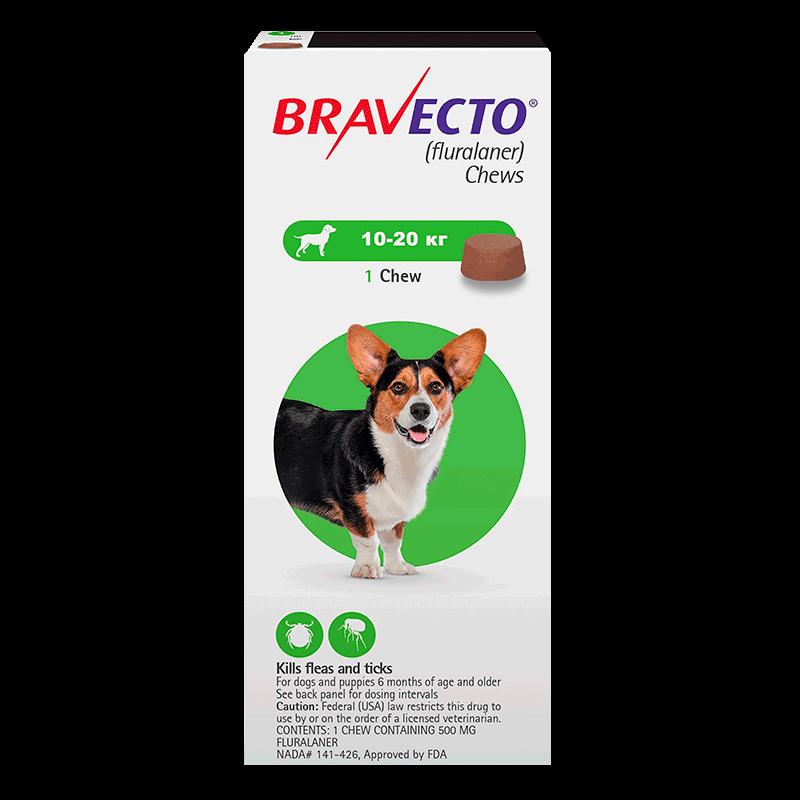 Жевательная таблетка Bravecto для собак от 10 до 20 кг