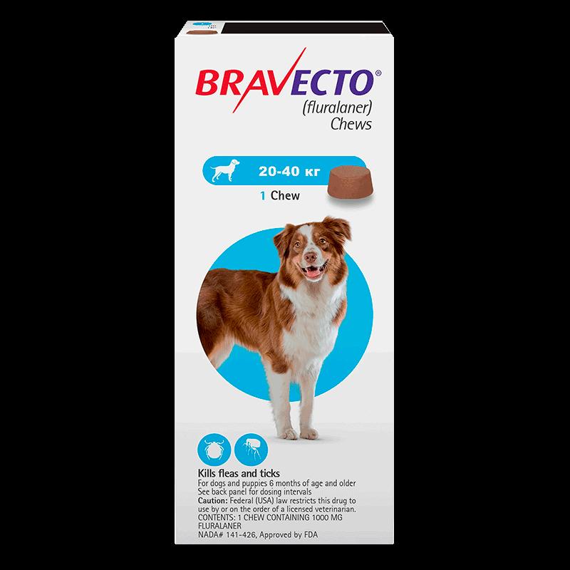 Жевательная таблетка Bravecto для собак от 20 до 40 кг